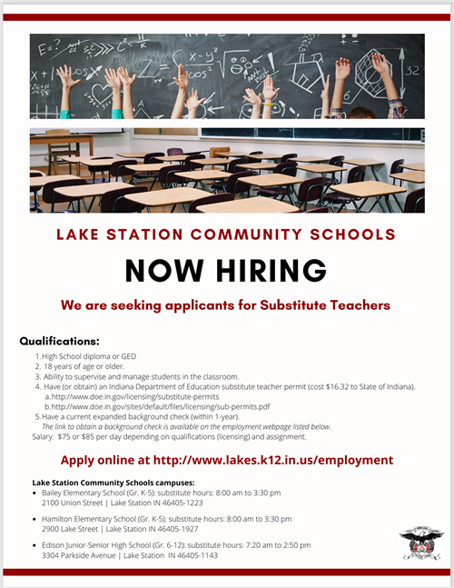 Now Hiring Substitute Teachers!